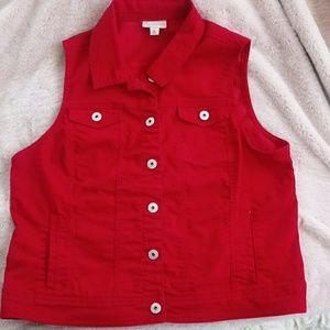Jackets & Blazers - CB established 1962 Utility Red Jean Vest size XL